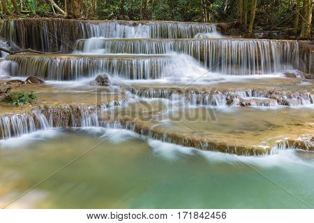 Huay Mae Ka Min waterfall in national park of Thailand natural landscape background