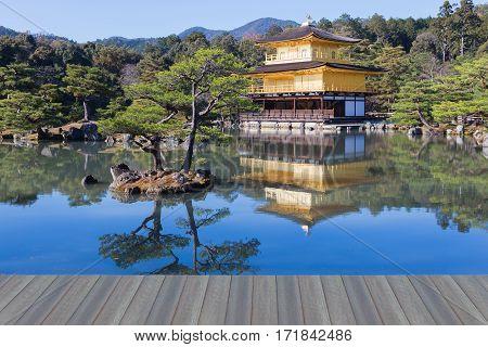 Opening wooden floor Zen Buddhist temple Kinkaku-ji temple Kyoto landmark Japan