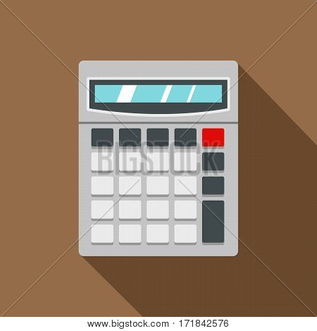 Calculator icon. Flat illustration of calculator vector icon for web isolated on coffee background