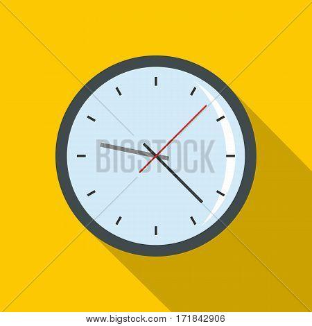 Round analog clock face icon. Flat illustration of round analog clock face vector icon for web isolated on yellow background