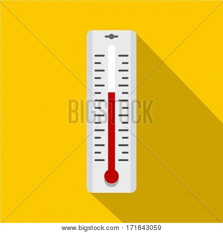 Thermometer with degrees icon. Flat illustration of thermometer with degrees vector icon for web isolated on yellow background