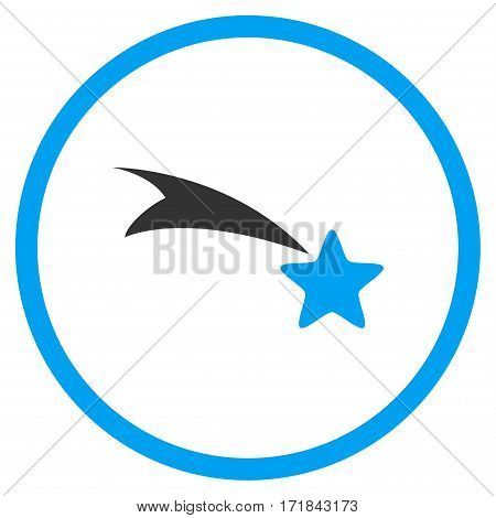 Falling Star rounded icon. Vector illustration style is flat iconic bicolor symbol inside circle blue and gray colors white background.