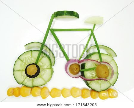 creative funny vegetable food snack with cucumber
