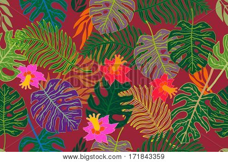 Seamless vector border with palm leaves and exotic flowers. Ethnic textile collection.