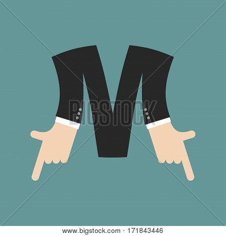 M Letter Businessman Hand Font. It Shows Finger Print. Arm Symbol Alphabet. Sign Of Abc