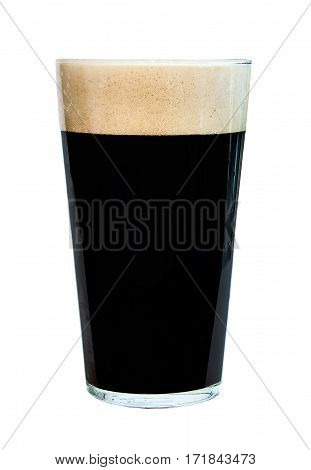 Pint glass of strong, dark beer, isolated on white background, alcoholic drink