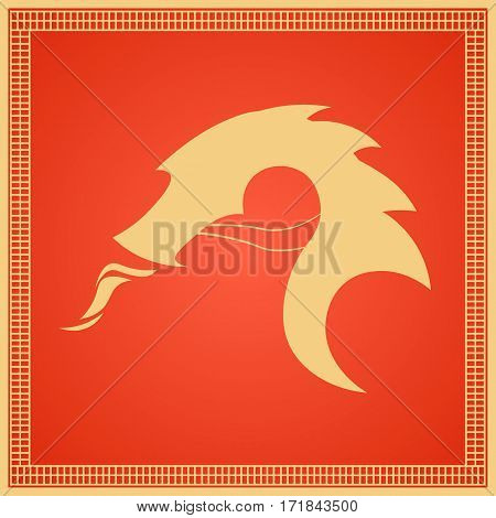 Chinese Traditional Dragon. East Asia. Vector Flat Illustration.