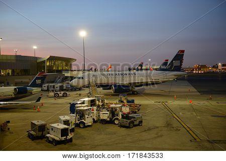 BOSTON - SEP. 26, 2015: US Airways Airbus 319-132 at Boston Logan International Airport, Boston, Massachusetts, USA.