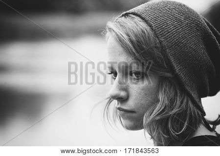 Sad depressed woman feeling so alone concept