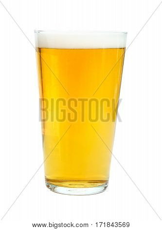 Pint glass of strong, golden beer, isolated on white background, alcoholic drink