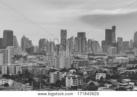 Black and White Office buidling central business downtown skyline Bangkok Thailand