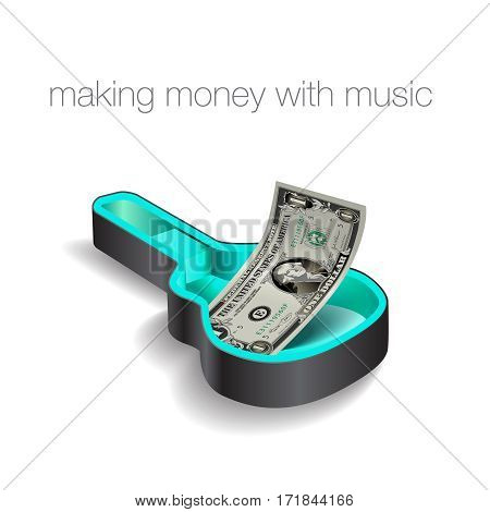 Make money with music is the theme of this graphic for print or web