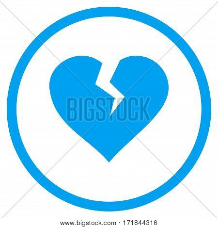 Heart Break rounded icon. Vector illustration style is flat iconic bicolor symbol inside circle blue and gray colors white background.