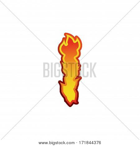 Letter I Fire. Flames Font Lettering. Tattoo Alphabet Character. Fiery Sign Alphabet