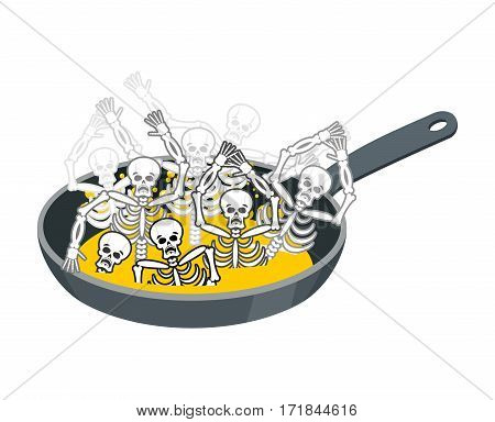 Sinner Fry In Pan. Skeleton In Boiler. Cook Sinners In Oil. Religion Illustration. Hell Symbol. Hell