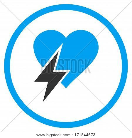 Heart Shock rounded icon. Vector illustration style is flat iconic bicolor symbol inside circle blue and gray colors white background.