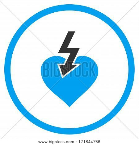 Heart Shock Strike rounded icon. Vector illustration style is flat iconic bicolor symbol inside circle blue and gray colors white background.