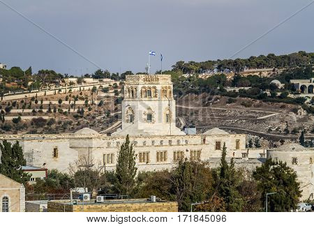 The Rockefeller Archaeological Museum view from wall of the Old City in Jerusalem Israel