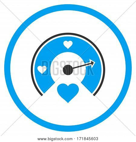 Love Gauge rounded icon. Vector illustration style is flat iconic bicolor symbol inside circle blue and gray colors white background.