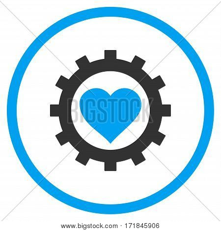 Love Heart Options Gear rounded icon. Vector illustration style is flat iconic bicolor symbol inside circle blue and gray colors white background.
