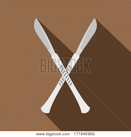 Crossed scalpels icon. Flat illustration of crossed scalpels vector icon for web isolated on coffee background