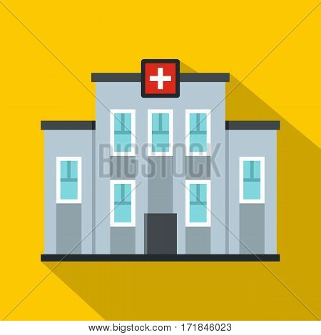 Medical center building icon. Flat illustration of medical center building vector icon for web isolated on yellow background