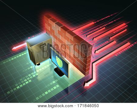 Firewall creates a safe zone for a workstation. 3D illustration.