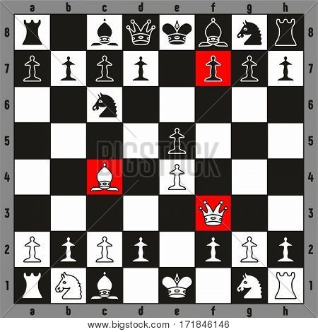 Chess Checkmate play fastest way to win beginner players illustration with chessboard and all pieces chessman including king queen rook bishop knight pawn for sport education
