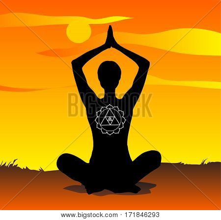 Young girl practicing yoga in the sunset in meditation pose. Vector illustration.