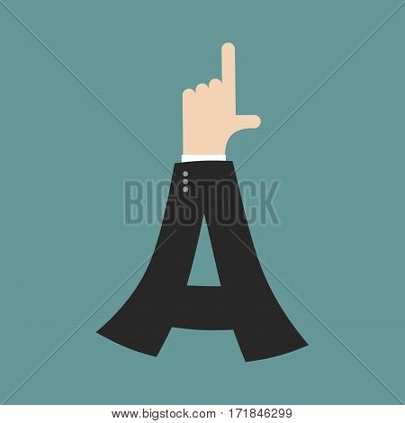 A Letter Businessman Hand Font. It Shows Finger Print. Arm Symbol Alphabet. Sign Of Abc