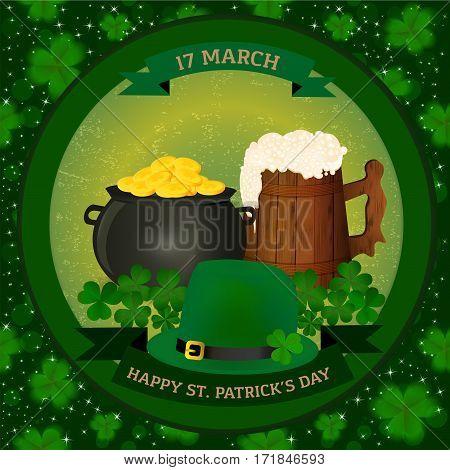 Saint Patrick's background - pot of gold, beer mug, green hat and clover. Vector illustration.