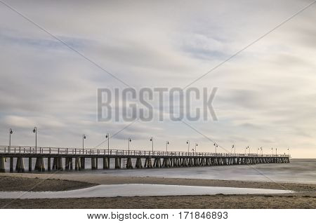 baltic sea and pier in gdynia orlowo in poland in the autumn, europe