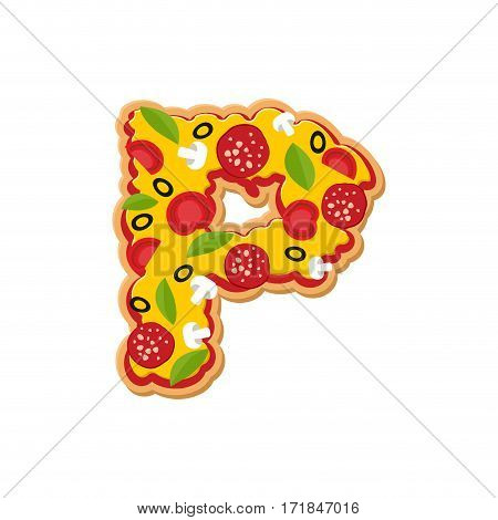 Letter P Pizza Font. Italian Meal Alphabet. Lettring Fast Food