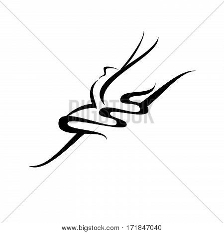 Abstract vector illustration of dancing ballerina. An isolated image of dancer.
