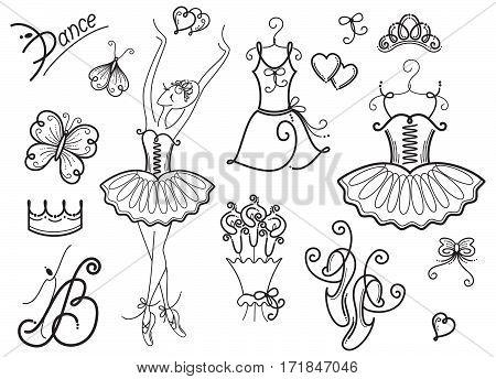 A set of vector images of ballet symbols.