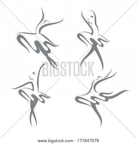 A set of abstract vector illustration of modern dancers.