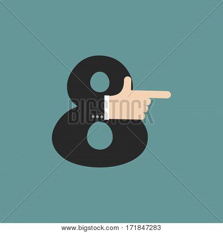 Number 8 Letter Businessman Hand Font. It Shows Finger Print. Arm Symbol Eight  Alphabet. Sign Of Ab