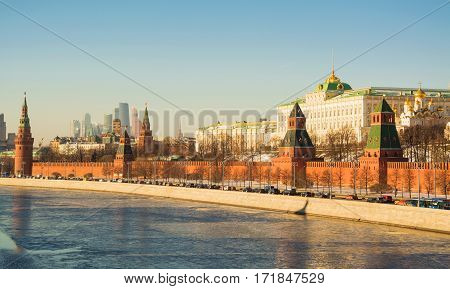 View of the embankment of the Kremlin, the Kremlin and the Moscow River