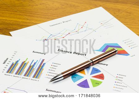Finance Report Calculations savings finances and analysis of the market concept.