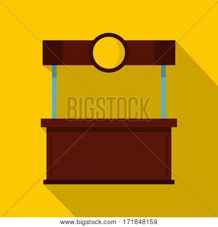 Empty counter with canopy icon. Flat illustration of empty counter with canopy vector icon for web isolated on yellow background