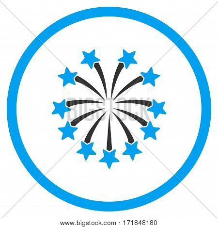 Spherical Fireworks rounded icon. Vector illustration style is flat iconic bicolor symbol inside circle blue and gray colors white background.