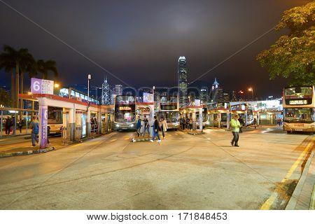 HONG KONG - CIRCA NOVEMBER, 2016: Hong Kong urban landscape at nighttime. Hong Kong  is an autonomous territory on the Pearl River Delta of East Asia.