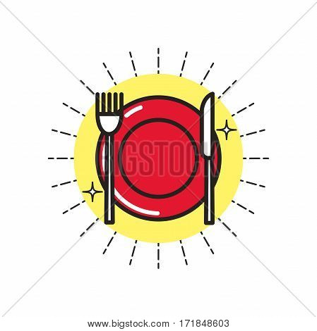 Color linear icon. Stylized dishes. One image of series Restaurant icons. Vector illustration. Can be used for applications and websites