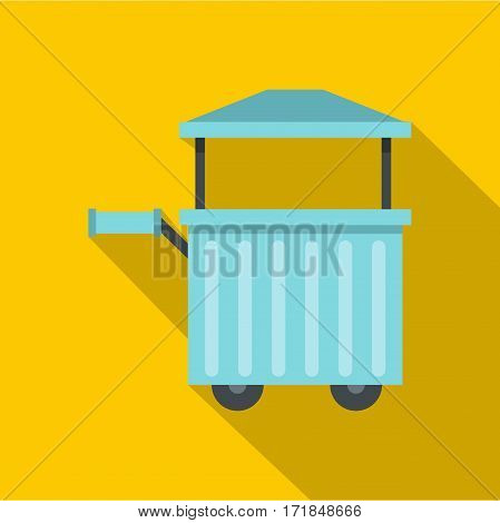 Blue trolley with awning icon. Flat illustration of blue trolley with awning vector icon for web isolated on yellow background
