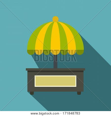 Empty counter with yellow and green umbrella icon. Flat illustration of empty counter with yellow and green umbrella vector icon for web isolated on baby blue background