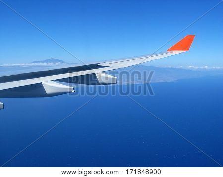 View from the plane window volcano Teide Tenerife Canary Islands. Spain.