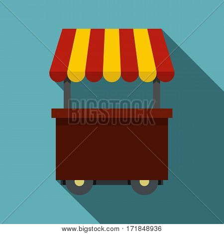 Fast food cart icon. Flat illustration of fast food cart vector icon for web isolated on baby blue background