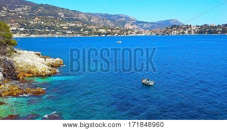 view of the Villefranche-sur-mer turquoise sea Cote d'Azur French Riviera France Europe