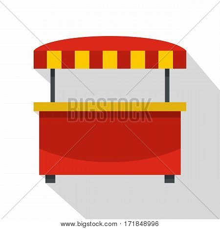 Store kiosk with red and yellow striped awning icon. Flat illustration of store kiosk with red and yellow striped awning vector icon for web isolated on white background