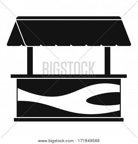 Market stall with awning icon. Simple illustration of market stall with awning vector icon for web